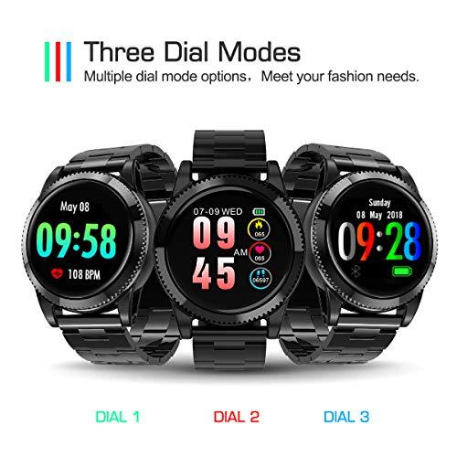 Smartwatch Herren, GOKOO Smart Watch Stylische IP67 Wasserdicht Sportuhren Männer Jungen Fitness Tracker Aktivitätstracker mit Pulsmesser Kalorienzähler Schlaftracker für Android IOS (Schwarz) - 4
