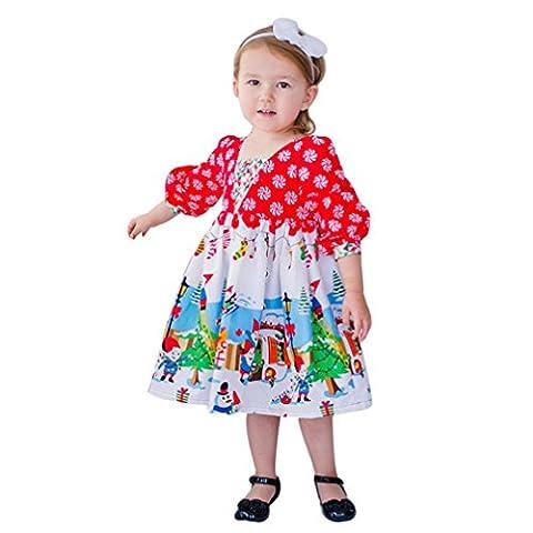 Longra Kleinkind Kinder Baby Mädchen Karikatur Langarm Prinzessin Tutu Kleid Karneval Party Kleid Festkleid Kinder Weihnachten Outfits Kleidung(2-6 Jahre) (90CM 3Jahre, Red)