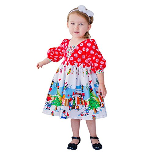 Longra Kleinkind Kinder Baby Mädchen Karikatur Langarm Prinzessin Tutu Kleid Karneval Party Kleid Festkleid Kinder Weihnachten Outfits Kleidung(2-6 Jahre) (90CM 3Jahre, (Katze Kostüm Regenbogen)