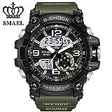SMAEL Montre de sport S Shock pour homme série analogique LED, chiffres, étanche 50m, double affichage de l'heure, montre décontractée, militaire, cadeau, série WS1617, vert militaire