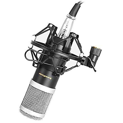 InnoGear aktualisiert professioneller kondensatormikrofon Desktop Broadcast & Recording Studio Mikrofon cardoiod Nierenmikrofon mit XLR Audio Kabel + Metall Schock Montage + Mikrofon Windschirm Filter Shied (schwarz)