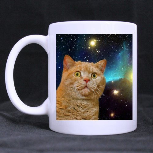 Halloween's Day/Easter Day Gifts Grumpy Galaxy Cat in Space Tea or Coffee Cup 100% Ceramic 11-Ounce White Mug