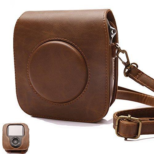 Tasche für Fujifilm Instax SQUARE SQ 10 Hybride Sofortbildkamera, Kameratasche PU-Leder klassische Retro-Schutzhülle mit verstellbarem Schultergurt von Hellohelio-Braun
