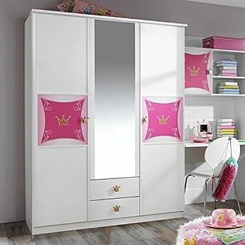 Kleiderschrank weiß / rosa 3 Türen B 136 cm Mädchen Prinzessin ...