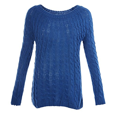 HIFUAR Femme Sweater Pull Tops Tricoté Manches Longues Col Rond Pullover Chandail Basique Bleu