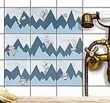 creatisto Fliesen-Folie Fliesensticker Kinder Klebefolie Kids | Dekor-Sticker Aufkleber Folie Küche Bad-Fliesen Wand Deko | 20x20 cm - Motiv Borduere Bergoboter - 72 Stück