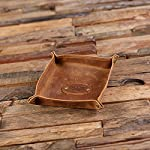 New Town Creative Monogrammed Collapsible Leather Valet Tray, Coin Dish or Holder