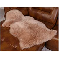 Soft Area Rug Genuine Australian Sheepskin Rug One Pelt Ivory Natural Fur(light brown)