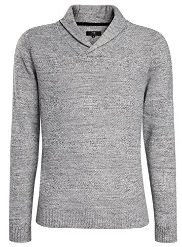 oodji Ultra Herren Texturierter Strick-Pullover mit Umlegekragen Grau (2000M)