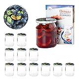 Van Well 12er Set Einkochgläser 500 ml Sturzglas Pflaumen Deckel Incl. Rezeptheft | Einmachgläser für Obst & Marmelade | Einweckgläser Gläser