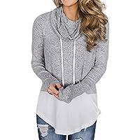 Hanomes Damen pullover, Frauen Rollkragen Gestreiftes Langarm Kordelzug Pullover Top Sweatshirt Taschen preisvergleich bei billige-tabletten.eu