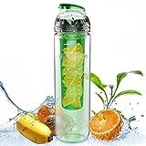 Rummershof Trinkflasche mit Früchtebehälter 800ml - Fruit Infuser aus Tritan bpa-Frei und spülmaschinenfest (grün)