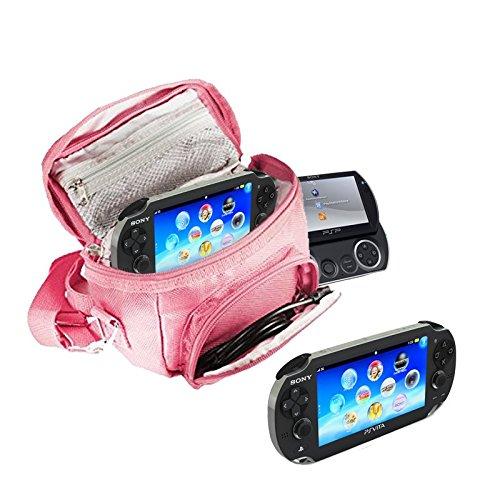 ONSOLEN (REISE-) TASCHE für die Sony PSP Konsolen (GO / VITA /1000/2000/3000) mit speziellen Fächern für die Aufbewahrung von Spielen und Zubehör. Tasche enthält Schultergurt, Tragegriff und eine Gürtelschlaufe - Pink / Rosa ()