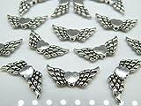 Flügel Engelflügel/Flügelperlen mit Herz 22mm Silber Antik - Schutzengel/Perlenengel / Engel Charms basteln