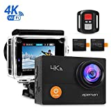 apeman A77 4K Wi-Fi Waterproof Ultra Full HD 30 m Diving with 2-inch LCD 170, 2.4G Remote Control/2 Rechargeable Batteries Action Camera