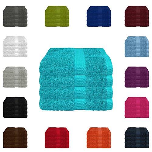 4 tlg. Handtuch-Set in vielen Farben - 4 Handtücher 50x100 cm - Farbe tuerkis