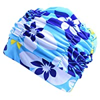 shyymaoyi Unisex Adult Sports Elasticity Swim Cap Long Hair Protector Keeps Hair Clean Ears Dry Swimming Hat Light Blue Flower
