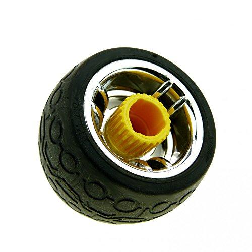 1 x Lego Duplo Toolo Rad schwarz Felge chrom silber gelb Räder Reifen mit Kreis und Trapez Profil Schraube mit Schlitz 31350c01 31351