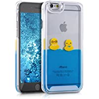 kwmobile Cover custodia rigida per iPhone 6 / 6S con liquido - Custodia rigida backcover custodia case protettiva acqua con Design anatre in giallo blu trasparente
