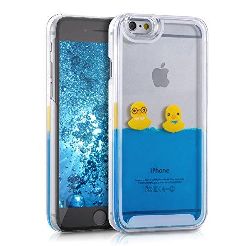 kwmobile Hülle für Apple iPhone 6 / 6S - Hardcase Backcover Case mit Flüssigkeit Handy Schutzhülle - Cover mit Enten Design in Gelb Blau Transparent