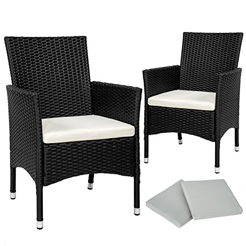 TecTake 2 x Ratán sintético silla de jardín set con cojines + 2 Set de fundas intercambiables + tornillos...