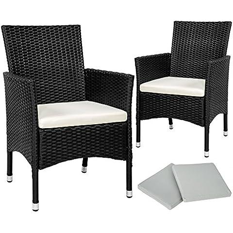TecTake 2 x Ratán sintético silla de jardín set negro con cojines + 2 Set de fundas intercambiables, tornillos de acero inoxidable