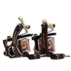 Dragonhawk 2 Brass Tattoo Machine Straight Shader Circle Liner with 2 Grips WQ3028+WQ3029