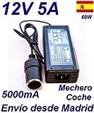 Cargador Coche Mechero 12V 5A 5000mA 60W vs Cable Alimentacion 220V 12V