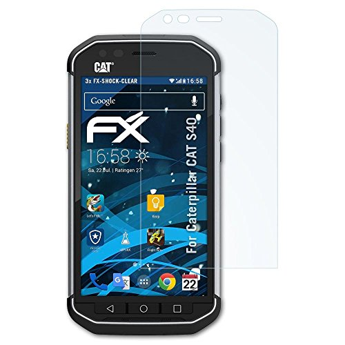 atFolix Schutzfolie kompatibel mit Caterpillar CAT S40 Panzerfolie, ultraklare & stoßdämpfende FX Folie (3X)