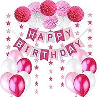 """Decoraciones Cumpleaños Ninas – 1 Bandera Banderines Feliz Cumpleaños """" Happy Birthday"""" + 8 Pompon Bola de Flor + 2 Guirnaldas con Estrellas de 3 Metros + 12 Globos Rosa Fucsia Blanco"""