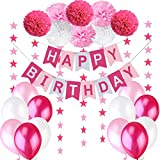 Jonami Geburtstagsdeko Mädchen / Kindergeburtstag Deko Rosa / Geburtstag Dekoration Set. Happy Birthday Wimpelgirlande,8 Blumenpuscheln,6 m Girlande mit Sternen,12 Ballons Rosa Weiß Pink