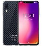UMIDIGI ONE PRO version globale, plein écran de 5,9 pouces (ratio de 19:9) smartphone, conception super mince, Android 8.1, P23 Octa Core 2,0 GHz 4 Go de RAM + 64 Go de ROM. Charge sans fil, triple caméra (16MP + 5MP 12MP) NFC - fibre de carbone