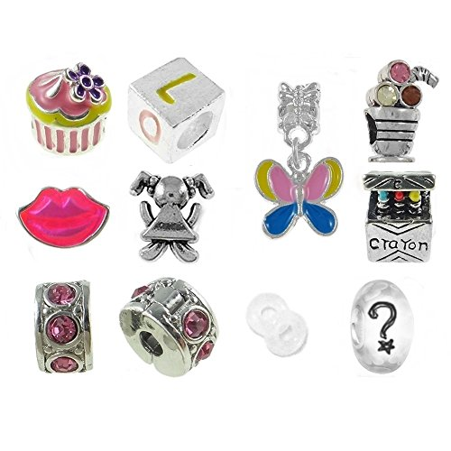 Nur für Mädchen Erster Schultag Beads und Charms kompatibel mit Pandora Armbändern Pink -