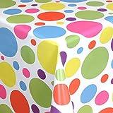 Wachstuch Tischdecke Gartentischdecke mit Fleecerücken Gartentischdecke, Pflegeleicht Schmutzabweisend Abwaschbar Bunte Punkte 100x 140 cm - Größe wählbar
