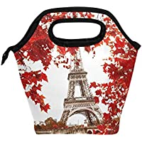 Bettken Lunchtasche Paris Eiffeltuch Blätter isoliert wiederverwendbar Lunchbox tragbar Lunchbox Essensbeutel Eisbeutel für Kinder Jungen Mädchen Erwachsene Männer Frauen preisvergleich bei kinderzimmerdekopreise.eu