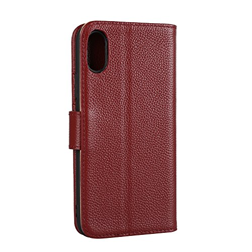 Luxus Echtleder Holster Fall Litchi Skin Brieftasche Fall mit Stand & Card Slots & Magnetic Closure für iPhone X ( Color : Rose ) Wine