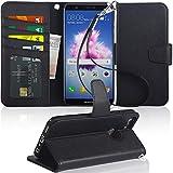 Arae Huawei P Smart Hülle, Handyhülle P Smart Tasche Leder Flip Cover Brieftasche Etui Schutzhülle für Huawei P Smart - Schwarz
