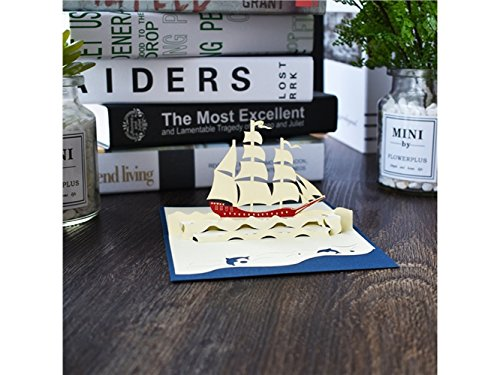 DOOUYTERT 3D Pop Up Grußkarte Segelboot Design viel Glück Karte Geburtstagskarte besten Wunsch Karte Geschenkkarte (blau)