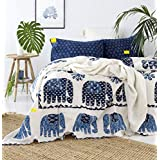 Fab Nation Jaipuri Traditional Elephant Print Cotton Double Bed Sheet with 2 Pillow Covers - Queen Size, Multicolour