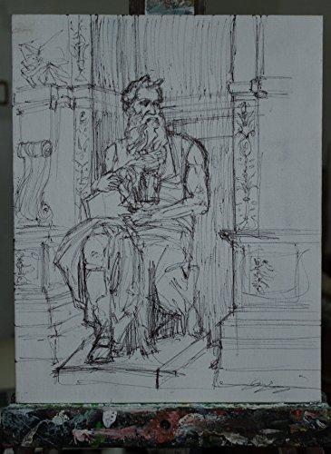 Kunden Guild (Moses von Michelangelo-Studie auf Karton Leinwand handgefertigt und durch die Kunden in schwarzer Tinte durchgeführt ,cm19,5x0,3x29,9cm Lucca Toskana, zertifizierte)