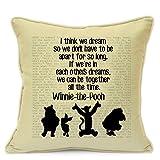 Vintage Kissenbezug mit Winnie Pooh (Disney) Zitaten, handgefertigter Kunstbezug, 45,7cm Kissenbezug für Sofa, Sessel, Couch Wohnzimmer Schlafzimmer, Kinderzimmer und als Geschenk beige