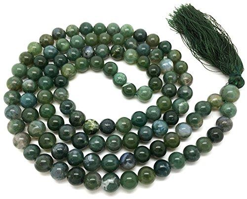 Givereldi Moos-Achat Mala Perlen Halskette Armband 108 Perlen 6 Mm breit - Rücken an Rücken plus 1 größere Guru-Perle - Gebet, Meditation oder Quaste Halskette (Moos-achat Halskette)