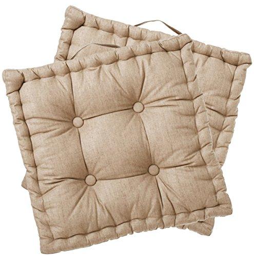 Set di 2 cuscini da pavimento quadrati - Colore: BEIGE (Panca A Terra)