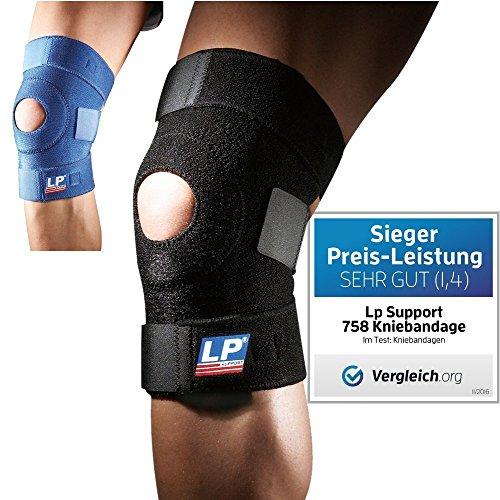 Lp Support 758 [2er Set] Kniebandage - Kniegelenkstütze - Knieschoner - Knieschutz - Kniestütze - Sportbandage, 1 Paar, Farbe: schwarz