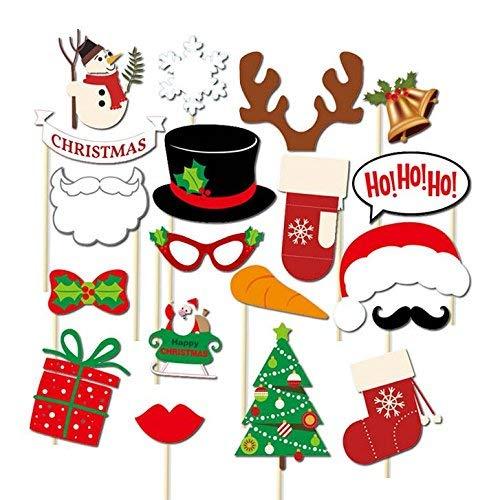 otorequisiten & Fotoaccessoires für Xmas Party Supplies 17pcs DIY Kit Fotoautomat Brille Schnurrbart rote Lippen Deer Horn Weihnachtsmann Hut (Set B) ()