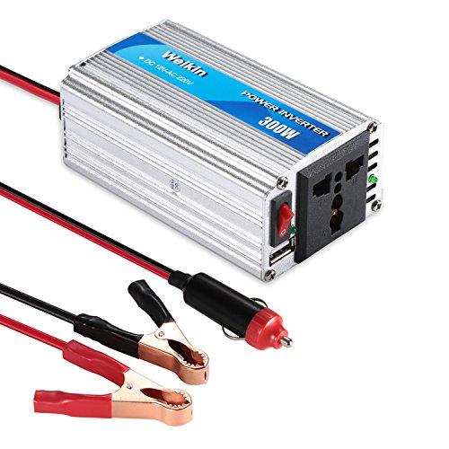 WEIKIN Convertisseur 300W DC 12V vers AC 220V Voiture Transformateur de Tension Ports USB 5V/2.1A Corps en Aluminium