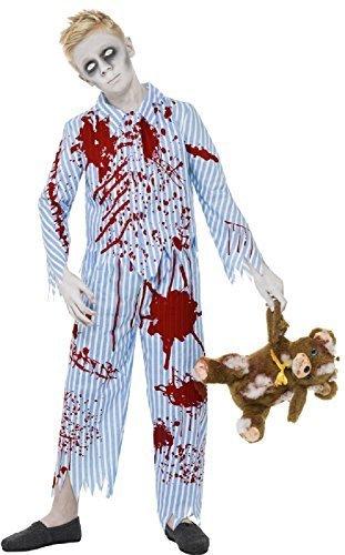 Fancy Me Jungen Teens Toter Zombie Blaue Streifen Schlafanzüge blutig Pyjama gruselig Halloween Kostüm 7-14 Jahre - Blau, 7-9 Years