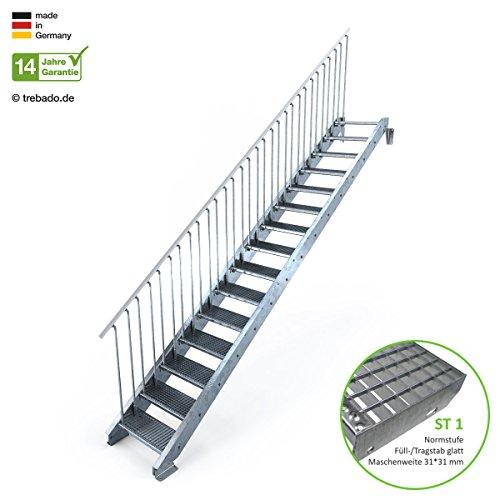 Außentreppe 15 Stufen 60 cm Laufbreite - einseitiges Geländer links - Anstellhöhe variabel von 250 cm bis 300 cm - Gitterroststufe ST1 - feuerverzinkte Stahltreppe mit 600 mm Stufenlänge als montagefertiger Bausatz