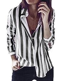 d08f294d29a5 VJGOAL Damen Bluse, Damen Mode lässig passenden Farbe herbstlichen Langarm-Taste  lose Kariertes Hemd Bluse…