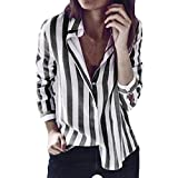 OverDose Damen Casual Gestreift Hemd Frauen Fashon Striped Langarm lose Bluse T-Shirt Tops Oberteile(D-Dark Gray,EU-38/CN-M)